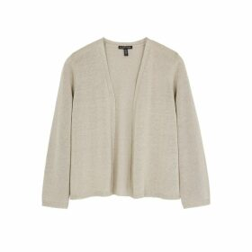 EILEEN FISHER Taupe Metallic-weave Fine-knit Cardigan