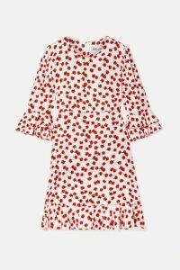 Diane von Furstenberg - Elly Ruffle-trimmed Floral-print Crepe Mini Dress - Ivory