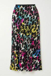 BERNADETTE - Norma Floral-print Satin Maxi Skirt - Black