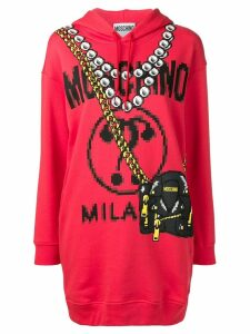 Moschino printed logo longline hoodie - Red