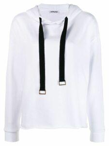 Parlor slogan detail hoodie - White