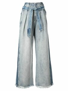 Comme Moi two-tone wide-leg denim trousers - Blue
