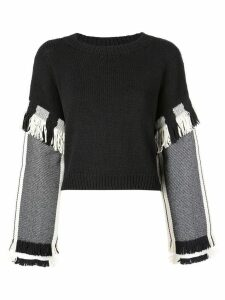 3.1 Phillip Lim Long Sleeve Fringed Sweater - Black