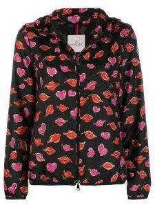 Moncler lips and heart print jacket - Black