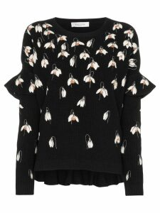 Valentino floral embroidered sweater - Black