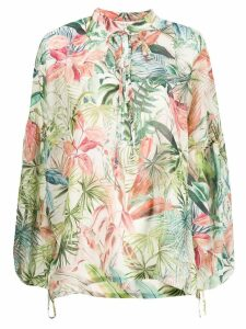 Black Coral oversized tie neck blouse - Neutrals