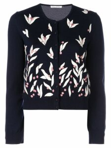 Oscar de la Renta floral embroidered cardigan - Blue