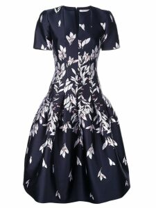 Oscar de la Renta floral embroidered midi dress - Blue