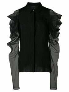 Cushnie ruffled sleeve blouse - Black