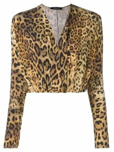 Cushnie plunge leopard print blouse - Brown