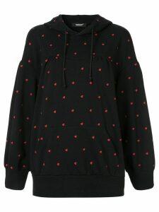Undercover heart print hoodie - Black