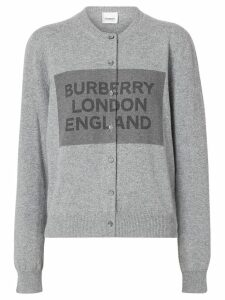 Burberry Logo Detail Cashmere Cardigan - Grey