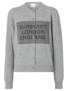 Burberry Logo Detail Cashmere Cardigan - Grey