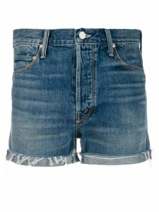 Mother frayed edge denim shorts - Blue