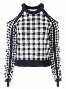 Jonathan Simkhai gingham knit sweater - Blue