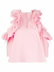 Delpozo frill trim poplin blouse - PINK