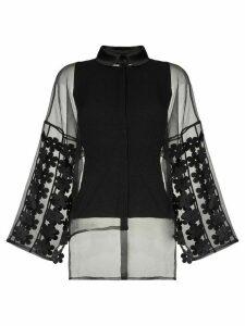PASKAL flower sleeve sheer blouse - Black