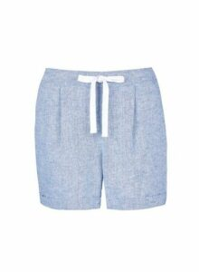 Womens Blue Chambray Shorts With Linen, Blue