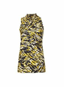 Womens Tall Yellow Zebra Print Halter Neck Top - Orange, Orange