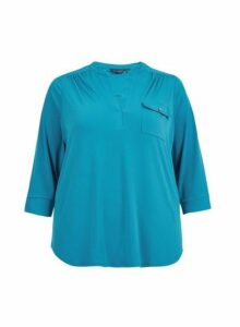 Womens **Dp Curve Teal Twist Yarn Shirt- Blue, Blue