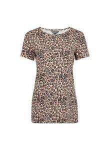 Womens **Tall Leopard Crew Neck Cotton T-Shirt- Brown, Brown