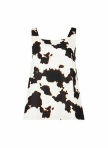 Womens Multi Coloured Cow Print Bow Back Top, Multi Colour