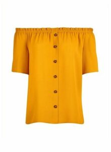 Womens Petite Yellow Bardot Top- Orange, Orange