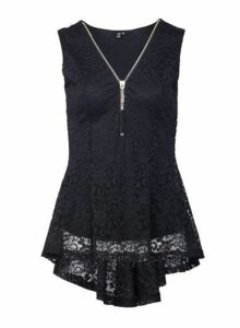 Womens Izabel London Black Lace Zip Front Top, Black