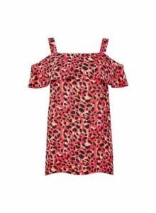 Womens **Tall Multi Colour Animal Print Cold Shoulder Top- Pink, Pink
