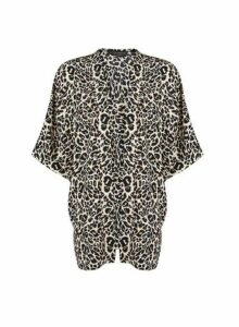 Womens Black Leopard Print Cover Up, Black