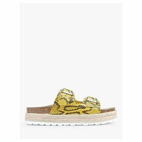 hush Woodstock Double Strap Slider Sandals, Yellow Snake Print