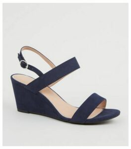 Wide Fit Navy Suedette Wedge Sandals New Look