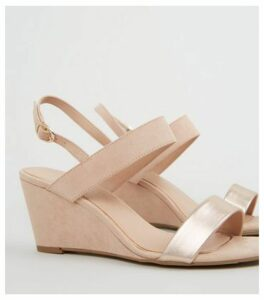 Wide Fit Nude Suedette 2 Part Wedge Heels New Look