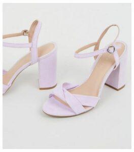Wide Fit Light Purple Suedette Cross Strap Heels New Look