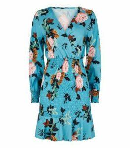 Urban Bliss Blue Floral Shirred Mini Dress New Look