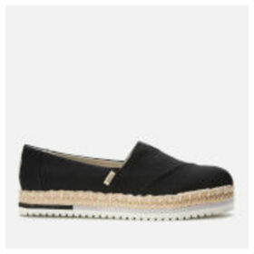 TOMS Women's Platform Alpargata Vegan Slip-On Pumps - Black - UK 8