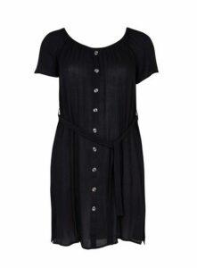 Black Button Front Bardot Dress, Black