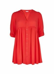 Coral Gathered Waist Tunic Top, Coral