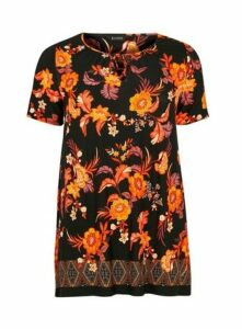 Black And Orange Floral Top, Dark Multi