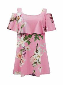 **Grace Pink Print Cold Shoulder Top, Pink