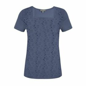 Ink Embroidered Square Neck Top
