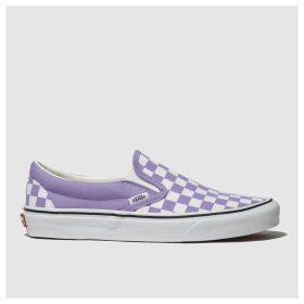 Vans White & Purple Classic Slip Checkerboard Trainers