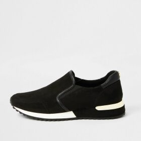 River Island Womens Black perforated runner trainers