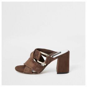 River Island Womens Brown suede wide fit sandals