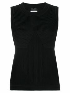 Chanel Pre-Owned panelled knit tank top - Black