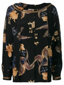 Versace Pre-Owned 1980's box pleat floral blouse - Black