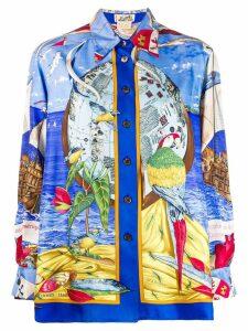 Hermès Pre-Owned Christophe Colomb Découvre l'Amerique shirt - Blue