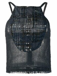 Chanel Pre-Owned 2006's knitted checked blouse - Blue