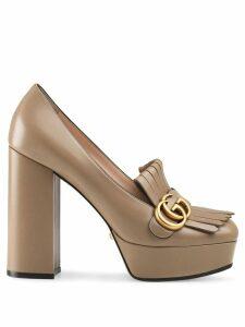 Gucci fringe platform pumps - Brown