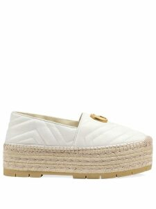 Gucci Chevron leather espadrille with Double G - White